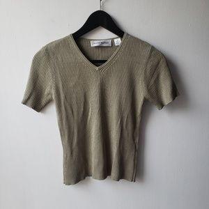 100% Silk Vintage Ribbed Crop Top V Neck Blouse